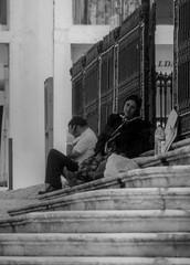 Scan from any old print (Paulo J Moreira) Tags: paulomoreira lisbon blackandwhite streetphotography stairs beggar fotografiaderua pretoebrancoblackandwhite analogue filmcamera