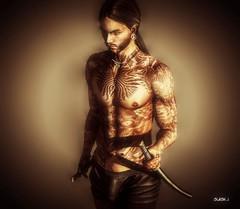 Ready to Fight ♥♥ (slash marciano) Tags: portrait second life sl japan warrior tattoo male katana necklace