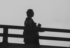 Going Down Together (clarkcg photography) Tags: together walk down hill ramp bridge overpass blackandwhite blackwhite bw candid streetphotography