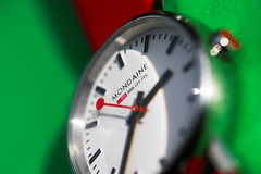Macro Mondays - Timepieces (that Geoff...) Tags: macromondays timepieces watch wristwatch mondaine ladies swiss railway green red macro design canon 70d bokeh