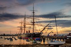 "HMS ""Warrior"", Harbour Portsmouth (Uwe Kögler) Tags: england evening grosbritannien greatbritain uk unitedkingdom port portsmouth hampshire southengland hms warrior harbour ship schiff steamboat sunset sonnenuntergang"