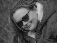 Portrait of a friend (Ian M Bentley) Tags: women friend oldfriend portrait glasses smile olympus omd em1ii tamron14300mm tamron 14150mm 28300mm sunny cold march monochrome blackwhite boken northamptonshire england uk europe afternoon 2019