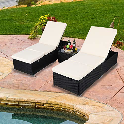 Do4U 3 Pcs Outdoor Patio Synthetic Adjustable Rattan Wicker Furniture Pool Chaise Lounge Chair Set with Table (9003-Black) Review