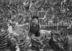 Woman Selling Dried Fishes, Ngapali, Myanmar (Eric Lafforgue) Tags: abundance asia asian beautifulpeople blackandwhite burma business day decoration developingcountries exoticism facepowder foodanddrink forsale frenchindochina grainy horizontal lookingatcamera makeup market marketstall myanmar ngapali oneperson paintedface pattern photography retail sale seller selling shopping southeastasia traveldestinations trix woman women leicaburma307 rakhinestate