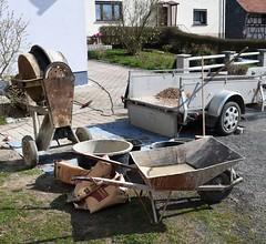 Still-life with wheelbarrow (Gerlinde Hofmann) Tags: germany thuringia village eishausen betonmischer trailer work container wheelbarrow concretemixer appliance tool shadow