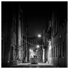 _DSC2583-Mr-2 (gillesporlier) Tags: venise monochrome bnw dark sombre ville city street ruelle flower fleur night nuit soir