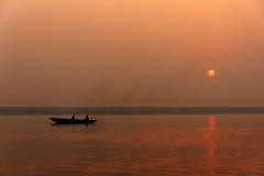 0949 Sailing on the Ganges (Hrvoje Simich - gaZZda) Tags: outdoors landscape waterscape water river people boat silhouette sun sky sunrise reflections ganges varanasi india asia travel nikon nikond750 nikkor283003556 gazzda hrvojesimich