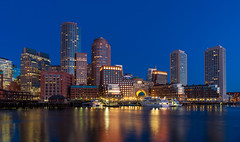 DSC_3779: Boston Skyline (during blue hour sunrise) (Colin McIntosh) Tags: boston nikon d610 manual focus 24mm nc f28 skyline sunrise