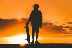DSC_3170 (IILife) Tags: skate skater skateboard board sunlight sunset sun sunny orange silhouette boy young teen teenager outdoor outdoors black sport action rest relax freetime summer spring tropical backlight hat glasses eyeglasses beautiful vacation fitness holiday holidays profile man lifestyle looking dreaming thought happy happiness alone one landscape hot color island health