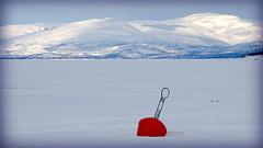This buoy can't buoy (Abisko, Sweden) (armxesde) Tags: pentax ricoh k3 schweden sweden norrbotten abisko lappland lapland winter snow schnee buoy boje red rot see lake gefroren frozen torneträsk