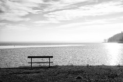 winter Balaton (LG_92) Tags: mood balaton plattensee lake hungary hungarian water waterfront shore tihany winter wintertime desolate bench sunshine blackandwhite blackwhite monochrome bw schwarzweiss sky nikon dslr d3100 2019 january