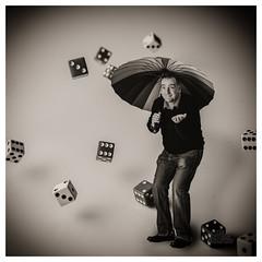 Random Showers (_Matt_T_) Tags: apolloorb43 westcott dice portrait dailyinfebruary triggertrap af540fgz umbrella 365 bw rain cactusv6 statistics probability distribution luck fortune