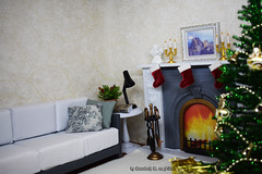 New roombox (Annabeth R.) Tags: 16 roombox diorama fireplace new year christmas tree sledge gifts