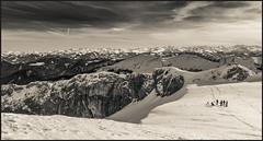 view to Burgstein and Schnittlauchrinne (genelabo) Tags: sonnwendjoch mangfallgebirge hinteres tirol bayerischen voralpen brandenberger alpen alps mountain berge sky blue himmel sun sonne view skitour skiing ski monochrome scharte schnittlauchrinne burgstein panorama pano
