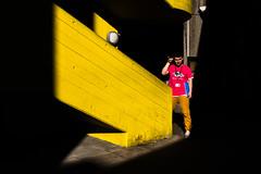 Break Into Film (Sean Batten) Tags: london england uk europe southbank bfi light shadow yellow candid person stairs red city urban fuji x100f fujifilm