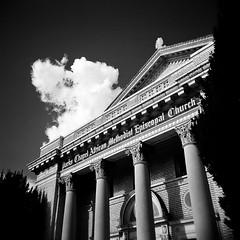 Church with Clouds, Oakland, CA (Timothy Lewis Jr.) Tags: architecture analoguefilm analogue clouds blackandwhite blackandwhitefilm bw building church trix trixpushed2stops orangefilter holgaphotos holgan holga120n kodaktrix