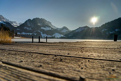 Steg im Schwarzsee, Kanton Fribourg, Schweiz