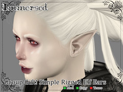 Group Gift! Simple Rigged Elf Ears (ImmersedSL) Tags: secondlife secondlifecom sl mesh fantasy faerie fairy elf roleplay renaissance drow
