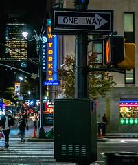 One Way (Jocey K) Tags: sonydscrx100m6 triptocanadaandnewyork architecture street people newyorkerhotel hotel cab car illuminations signs signpost roadcones