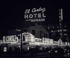 El Cortez on Fremont (podolux) Tags: 2019 sony sonya7 a7 sonyilce7 ilce7 elcortez elcortezhotel blancoynegro blackandwhite bw lasvegas nevada nv clarkcounty night nighttime sign signs citynight hotel