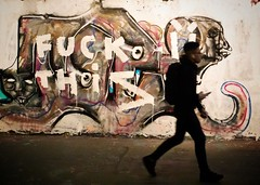 mood of the nation (Wendy G Davies) Tags: urban tunnel pentaxmlens colour man london streetart graffiti