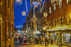Christmas in Old Town-3 (albyn.davis) Tags: canada quebec city urban night light blue color golden travel people shopping street decorations holidays christmas windows trees buildings