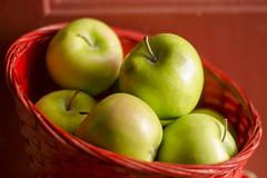 Expanding And Contrast-ing (aaron_gould) Tags: fruit apple red green bokeh stem nikkor 50mm macro basket door home art d7000