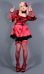 107H7L (klarissakrass) Tags: burlesque pinup sexydress highheels pumps stockings transgender crossdress