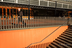 The orange tie (PaulHoo) Tags: haarlem city urban candid streetphotography fujifilm x70 people contrast 2019 orange central station stairs pattern texture
