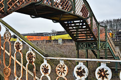 Bridge Competition (whosoever2) Tags: uk united kingdom gb great britain england nikon d7100 train railway railroad march 2019 heatonlodge junction lattice bridge yorkshire kirklees colas class56 56049 56090 6e32 preston lindsey oil bitumen