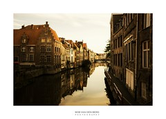 the old city of Gent (Zino2009 (bob van den berg)) Tags: gent town old mediaval houses reflection water light glow painting color goldenage view bridge belgium tiles front bricks perpective