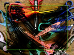 2019-03-11 a pile of scissors (Mary Wardell) Tags: scissors abstract photoshop ps colors justforfun
