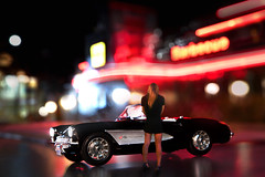 Its a '57 (johnsinclair8888) Tags: night vette corvette stingray nikon lights dof bokeh black d850 affinityphoto neon art composite 1957 forcedperspective scale model