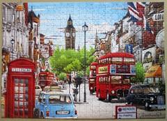 London Scene (pefkosmad) Tags: jigsaw puzzle hobby leisure pastime trefl poland painting art londonscene hiroyukitanikawa christmaspresent gift new complete phonebox bus taxi mini car street bigben unionflag cab hackneycarriage