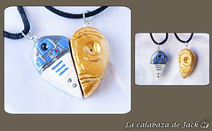 Star Wars Necklace (LaCalabazadeJack) Tags: necklace collar jewelry joyería accessory accesorio charm r2d2 c3po star wars fan art film movie heart love polymer clay polyclay handmade handcraft craft tutorial la calabaza de jack cristell justicia artesanía tienda online shop comprar venta