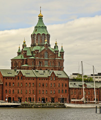 A9717HELSb (preacher43) Tags: helsinki finland sky clouds water building architecture uspenski cathedral orthodox church