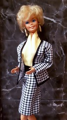 Barbie Cool Careers Fashion #5789 from 1991 (VintageZealot) Tags: barbie mattel 90s 1990s 70s 1970s 1991 1978 2598 5789 pretty changes cool career fashion vintage doll clothing clothes outfit superstar super star model modelling business work office suit taiwan black white houndstooth jacket blazer skirt pumps scarf ascot shirt top blouse yellow diamond crystal rhinestone ring brass hoop earrings earring leather handbag bag purse briefcase brief case suitcase retro caucasian blonde velcro