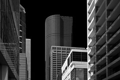 Looking Down Lamar Street (infrared) (dr_marvel) Tags: ir infrared houston tx texas sky clear black buildings skyscrapers architecture design office lamar street upward