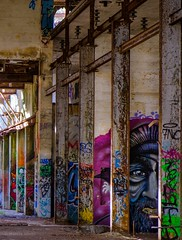 Art in the Abandoned Pic #2 (SpyderMarley) Tags: fujifilmxt2 cement hydronstation derelict decay vancouverisland britishcolumbia jordanriver power station fujifilm xt2 colourful art building graffiti abandoned old