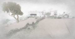 Listen (Loegan Magic) Tags: secondlife landscape monochrome trees house pathe buildings