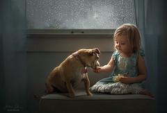 Sharing a Snack ({jessica drossin}) Tags: jessicadrossin portrait childhood dog snack popcorn rain rainy window drops storm seasons cute lace dress curtains indoors wwwjessicadrossincom