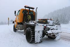 Bulldog pusher waiting to assist. (OregonDOT) Tags: snow snowstorm winter winterdriving trucks oregondot oregon i5 interstate5 siskiyousummit siskiyou