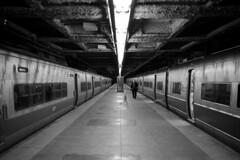 Track 13  (Film) (Harald Philipp) Tags: grandcentralterminal grandcentral train trainstation nyc newyork usa underground tracks trainplatform conductor film analog retinaiiic kodakretina homedeveloped selfdeveloped analogue bnw blackandwhite bw monochrome