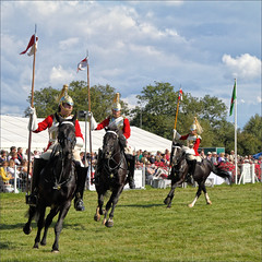 Lances and Pennants II (meniscuslens) Tags: aylesbury weedon buckinghamshire bucks county show horse horses soldier armor armour grass event arena sky clouds musical ride household cavalry