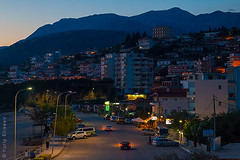 Night in Himare (yuriye) Tags: night light dusk twilight blue city cityscape urban town albania albanian balkan balkans mountain road car албания ночь огни машина улица балканы пейзаж landscape street