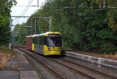 """Manchester Metrolink Bombardier """"Flexity Swift"""" M-5000 type No.3060A approaches Sale on 5 Oct 2018 (Trains and trams eveywhere) Tags: manchester metrolink tram localtransport electric flexityswift m5000 bombardier sale"""