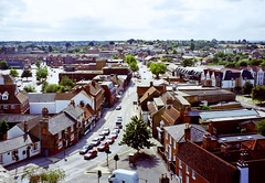 Rayleigh High Street from Holy Trinity Church tower, 29th August 1994 (Linda 2409) Tags: towncentre rayleigh essex buildings