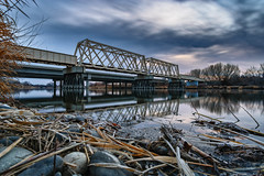 Morning on the Yakima River I (PNW-Photography) Tags: yakima yakimariver richland washington river reflection reflect morning sunrise bluehour bridge railroad winter sony sonya6000 a6000 tricities hwy240 hdr longexposure