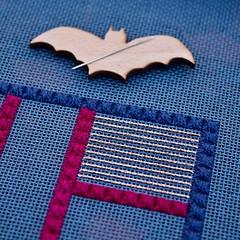 DebBee's Treat (GATACA1952) Tags: needlepoint needlepointer canvaswork dmc kreinik needlework handmade craft homedecor texture countedneedlepoint countedcanvaswork floss fibre fibreart blue debbierowley debbee'sdesigns neddleminder bat