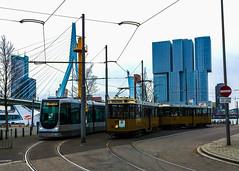 Rotterdam RET (kfinlay) Tags: rotterdam netherlands holland south ret rotterdamse elektrische tram public transport alstom citadis erasmusbrug city skyline skyscraper oude old